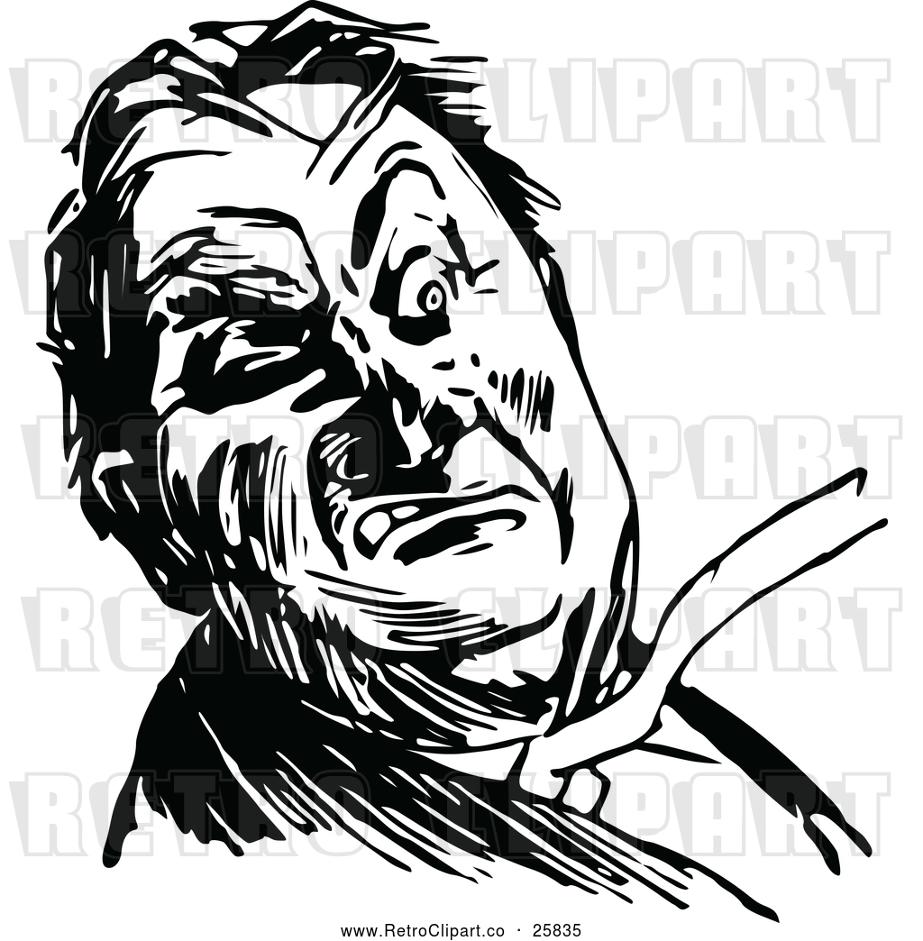 Vector Clip Art of Retro Angry Man by Prawny Vintage.