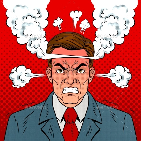 Angry Man with Boiling Head Pop Art Vector.