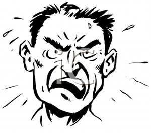 A Retro Cartoon of a Man Raging with Anger.