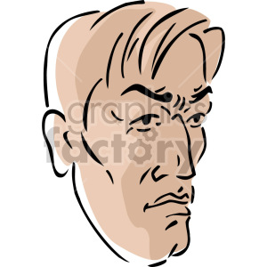 angry man's face clipart. Royalty.