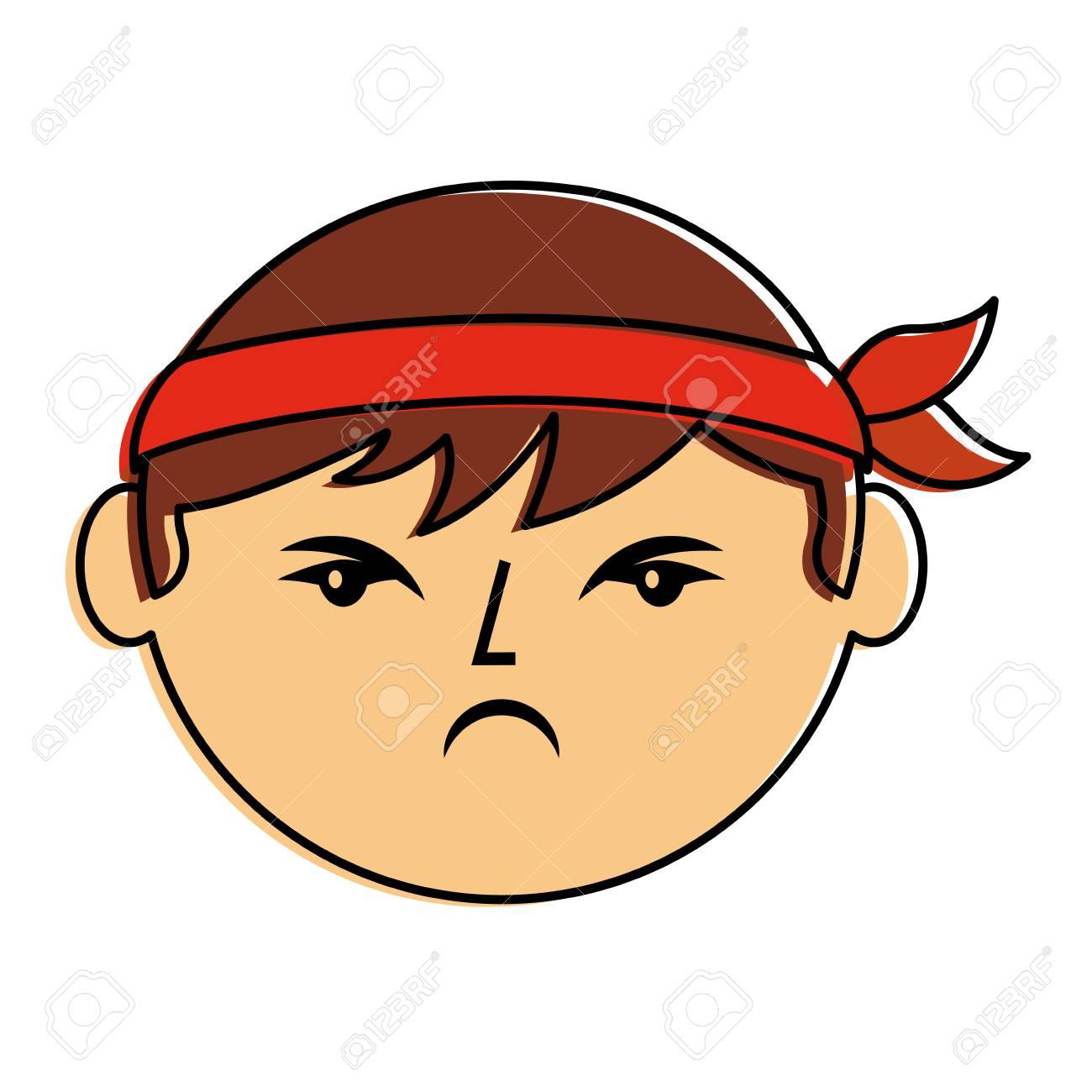 cartoon face angry chinese man vector illustration.