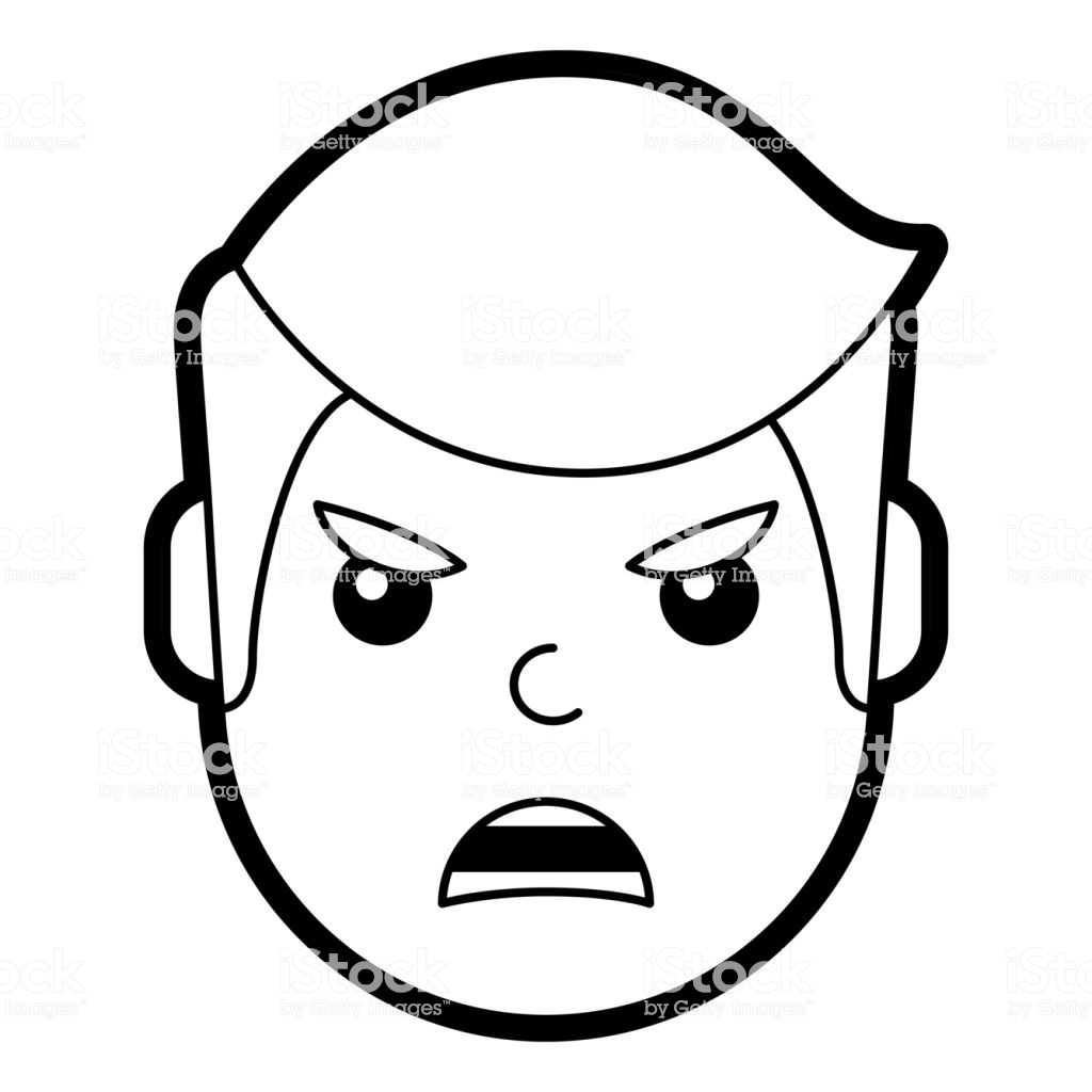 Young Man Face Angry Expression Cartoon Stock Illustration.