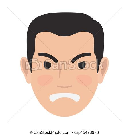 Angry Man Avatar User Pic Front Head View Vector.