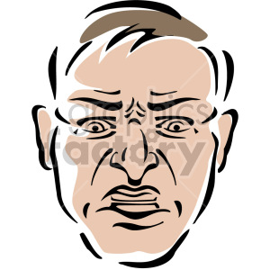 angry mans face clipart. Royalty.