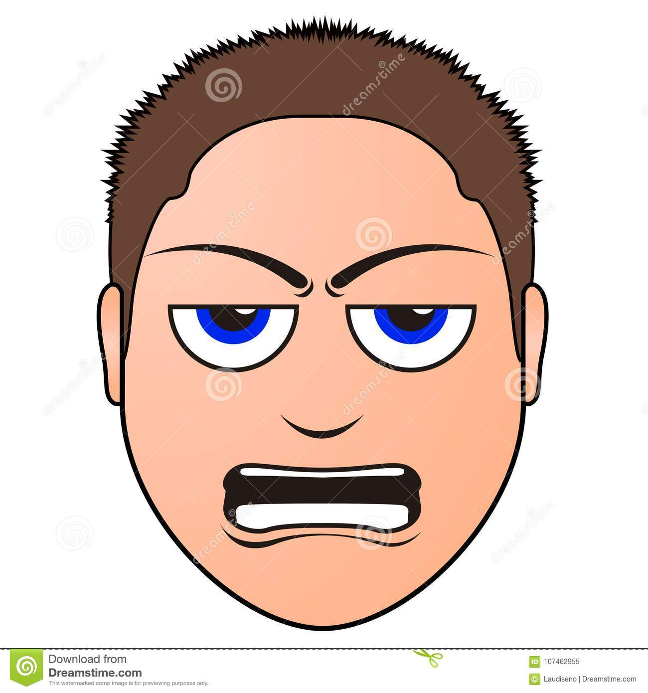 Angry man avatar stock vector. Illustration of clipart.