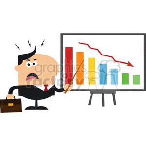 8353 Royalty Free RF Clipart Illustration Angry Manager Pointing To A  Decrease Chart On A Board Flat Style Vector Illustration clipart.  Royalty.