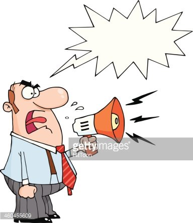 Angry Manager Holding A Megaphone With Speech Bubble Clipart.