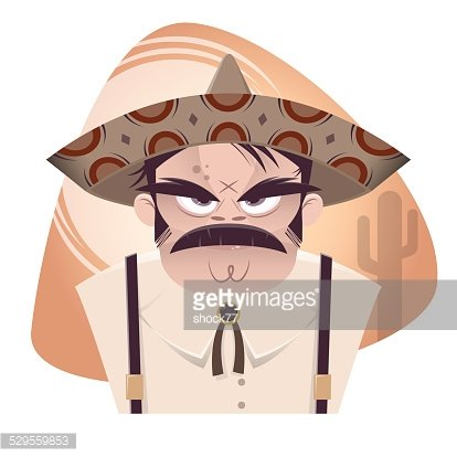 angry cartoon mexican Clipart Image.
