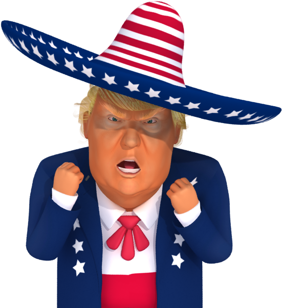 trumpstickers Angry Mexican Trump 3d Caricature 3d.