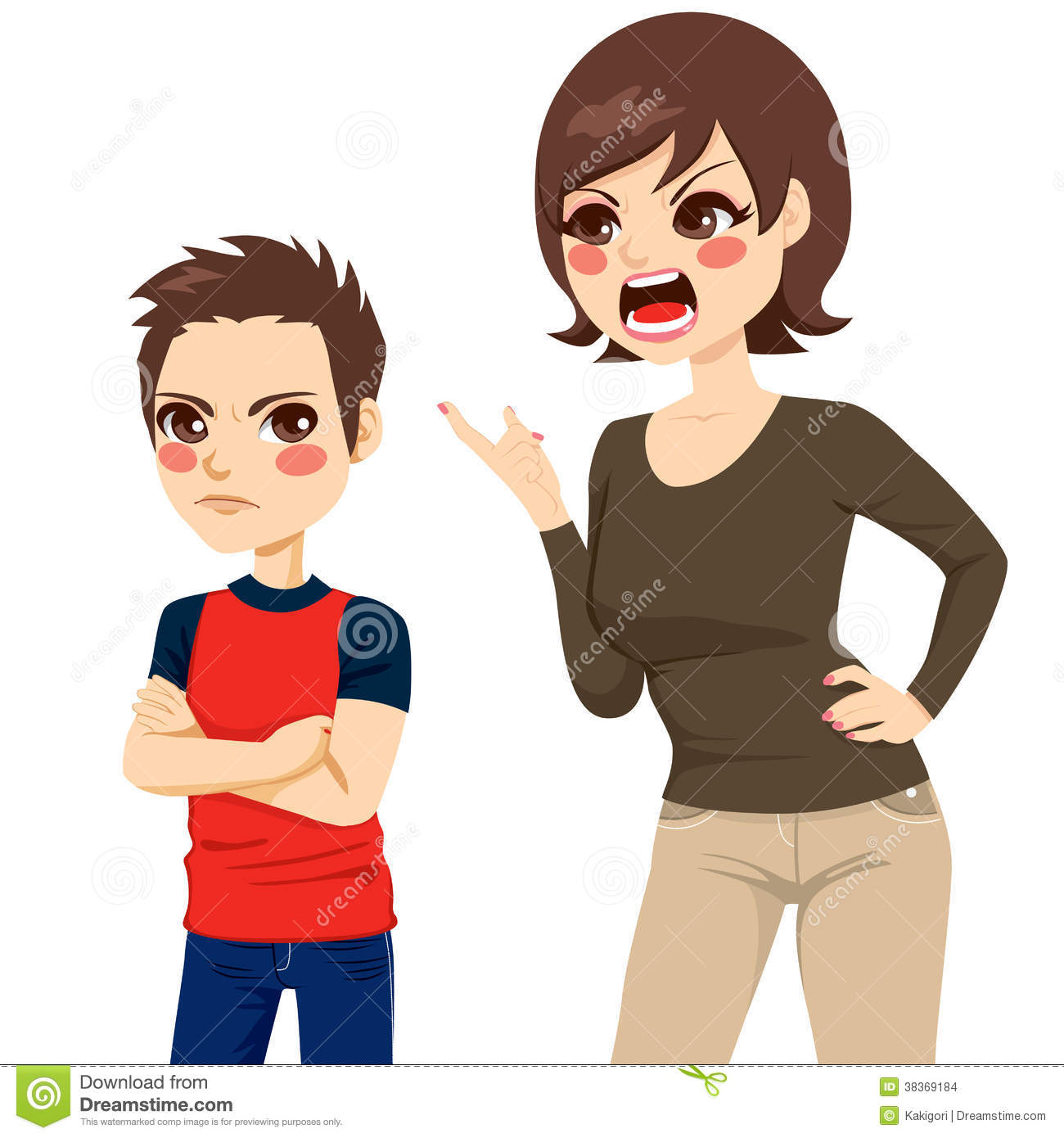 Mom Scolding Child Clipart.