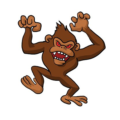 Angry Monkey Cartoon. Clipart Image.