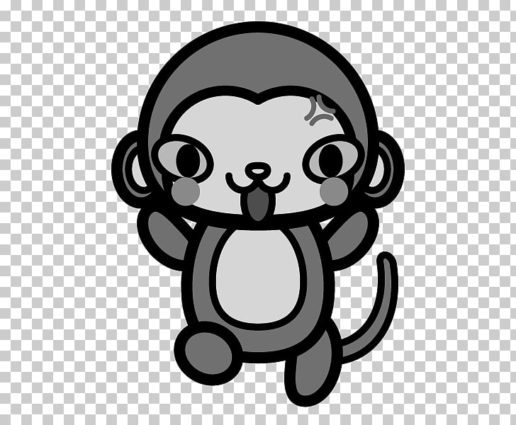 Monochrome painting Black and white Monkey Mammal Kawaii.