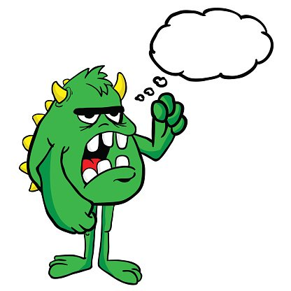 Angry Monster With Thought Bubble premium clipart.
