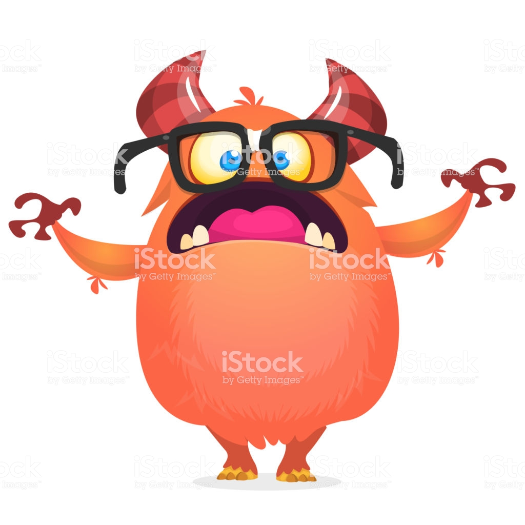 Angry Monster Wearing Eyeglasses Vector Illustration Clipart Stock.