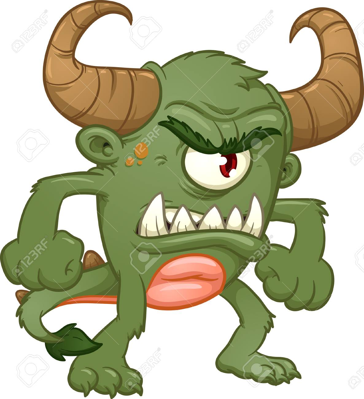 Green angry monster. Vector clip art illustration with simple...