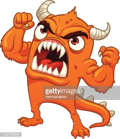 Angry orange monster Clipart Image.