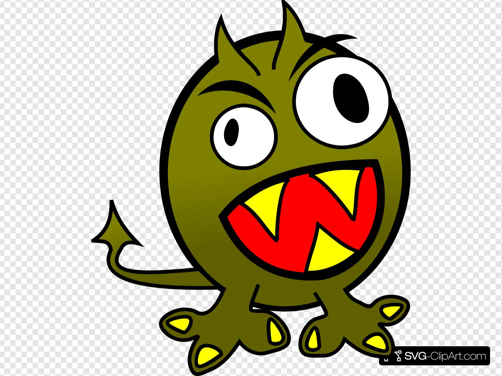 Small Funny Angry Monster Clip art, Icon and SVG.