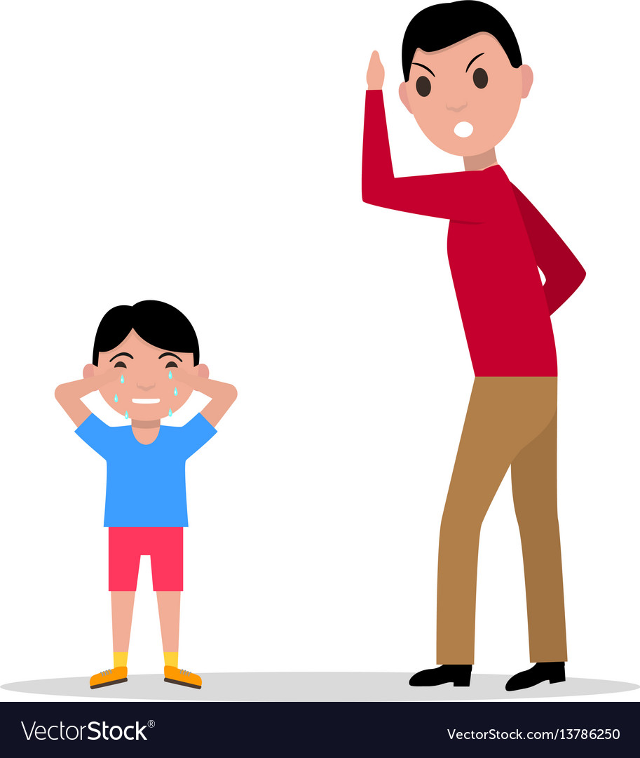 Cartoon angry father scolding her child.