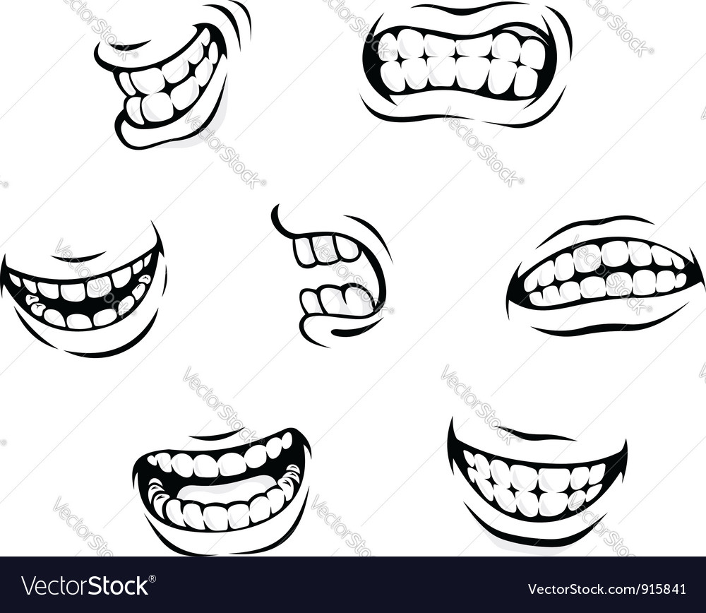 Smiling and angry cartoon teeth.