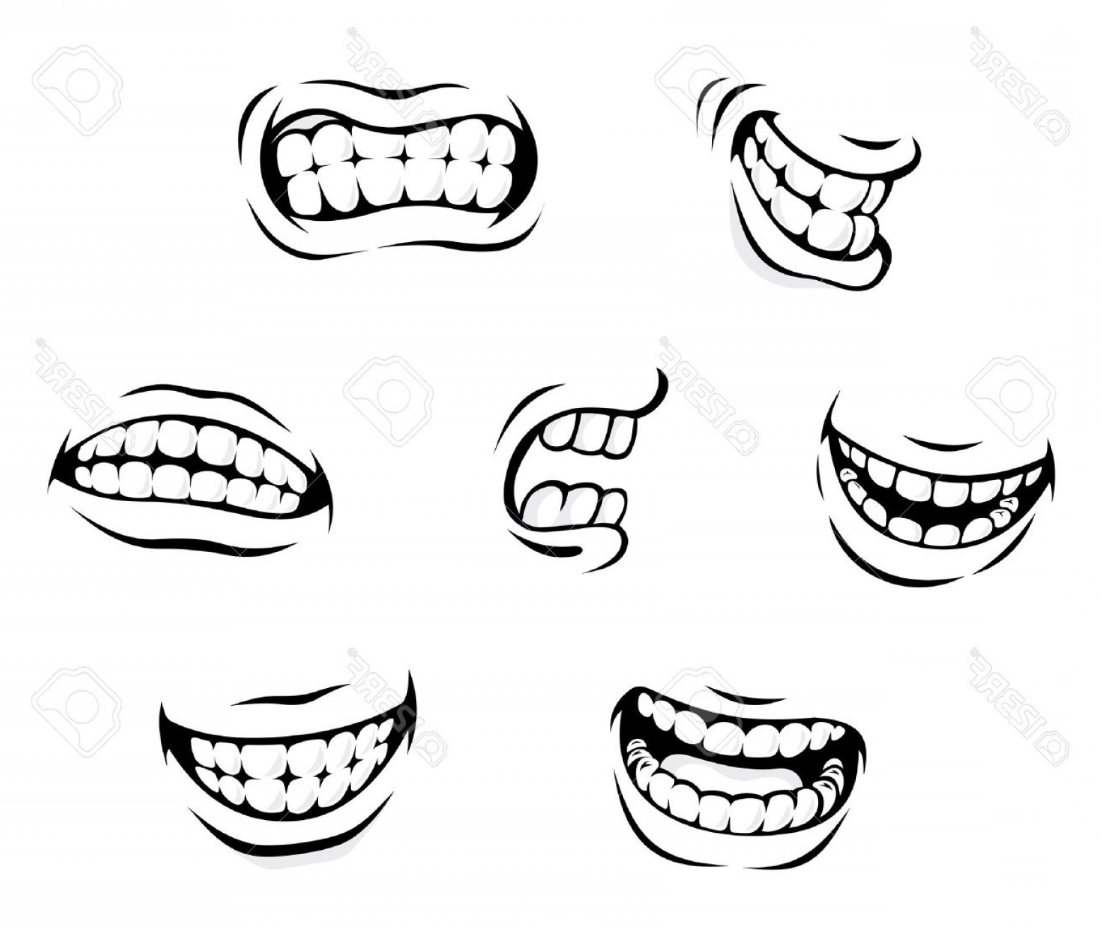 Photosmiling And Angry Cartoon Teeth Isolated On White.