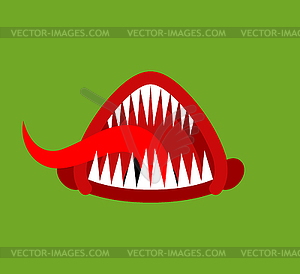 Angry mouth with teeth monster . Scary Maw with.