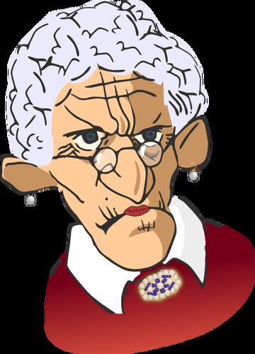 Vector illustration of grumpy old woman.