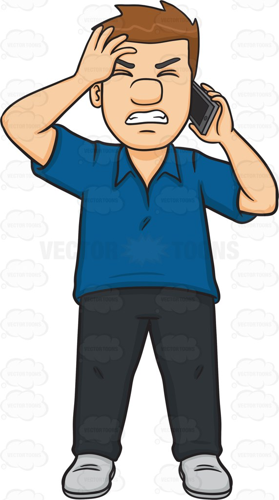Angry Phone Call Clipart.