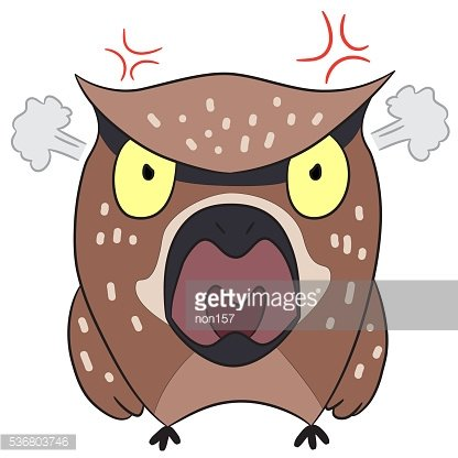 cartoon drawing angry owl Clipart Image.