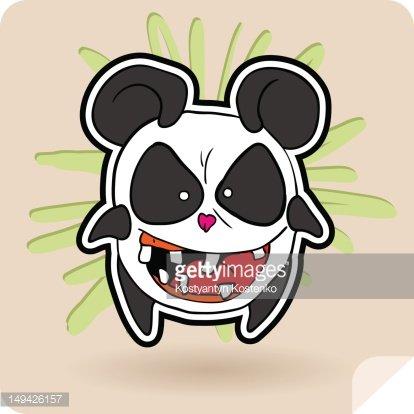 angry panda Clipart Image.