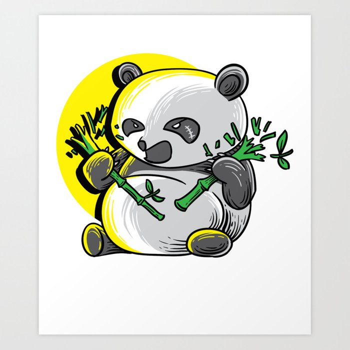 Panda monium Pandamonium shirt angry Kawaii panda Art Print by wwb.