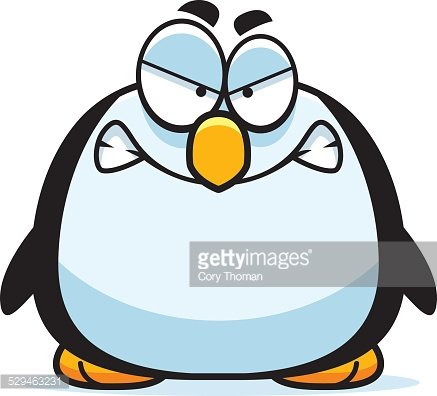 Angry Little Penguin Clipart Image.