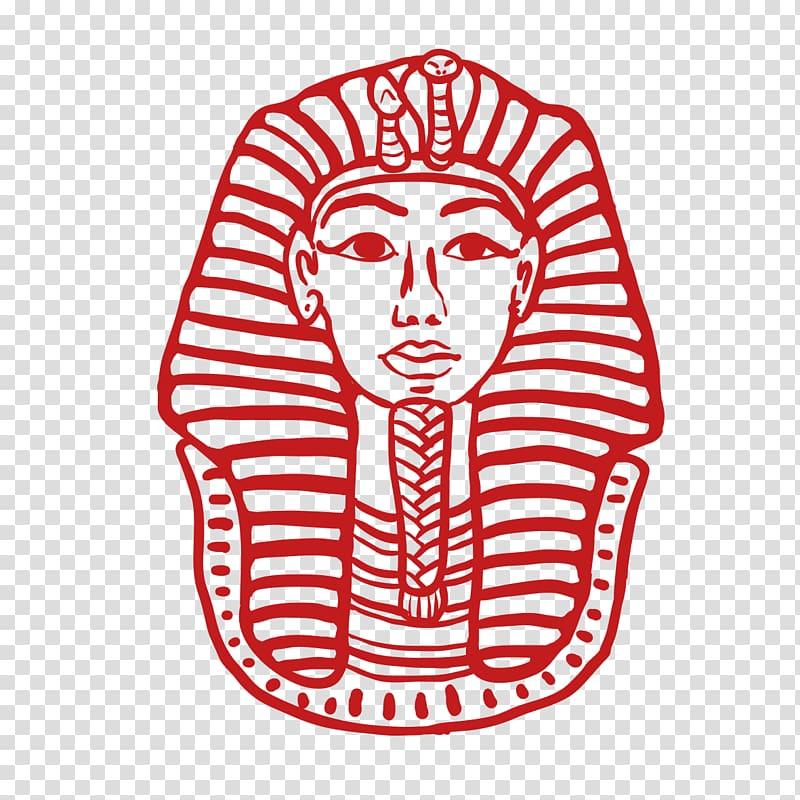 King Tuthankamen mask illustration, Egyptian pyramids.