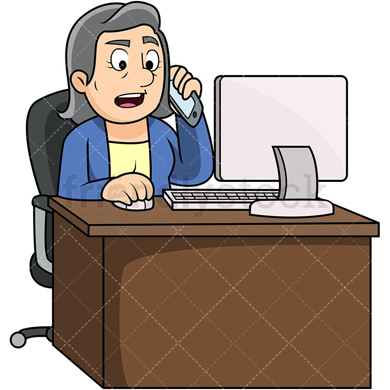 Old Woman Calling Someone While Using Computer.