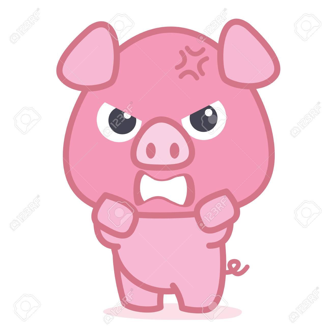 Angry pig cartoon character.
