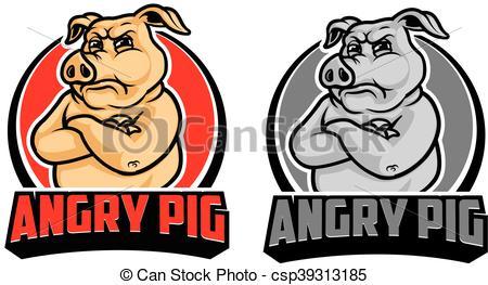 Angry Pig Cartoon Logo.