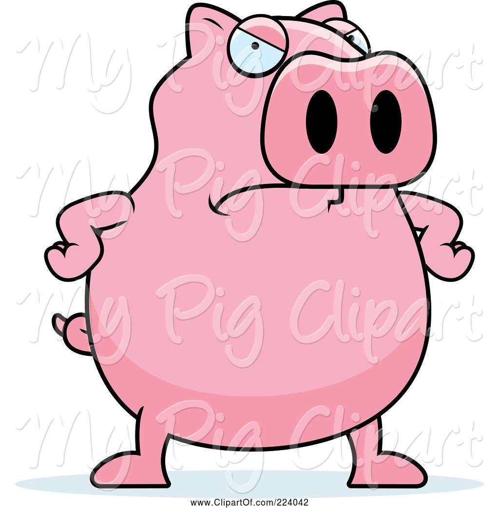 Swine Clipart of Cartoon Chubby Pink Pig with an Angry Expression by.