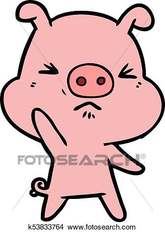 Cartoon angry pig Clipart.