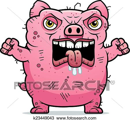 Angry Ugly Pig Clipart.