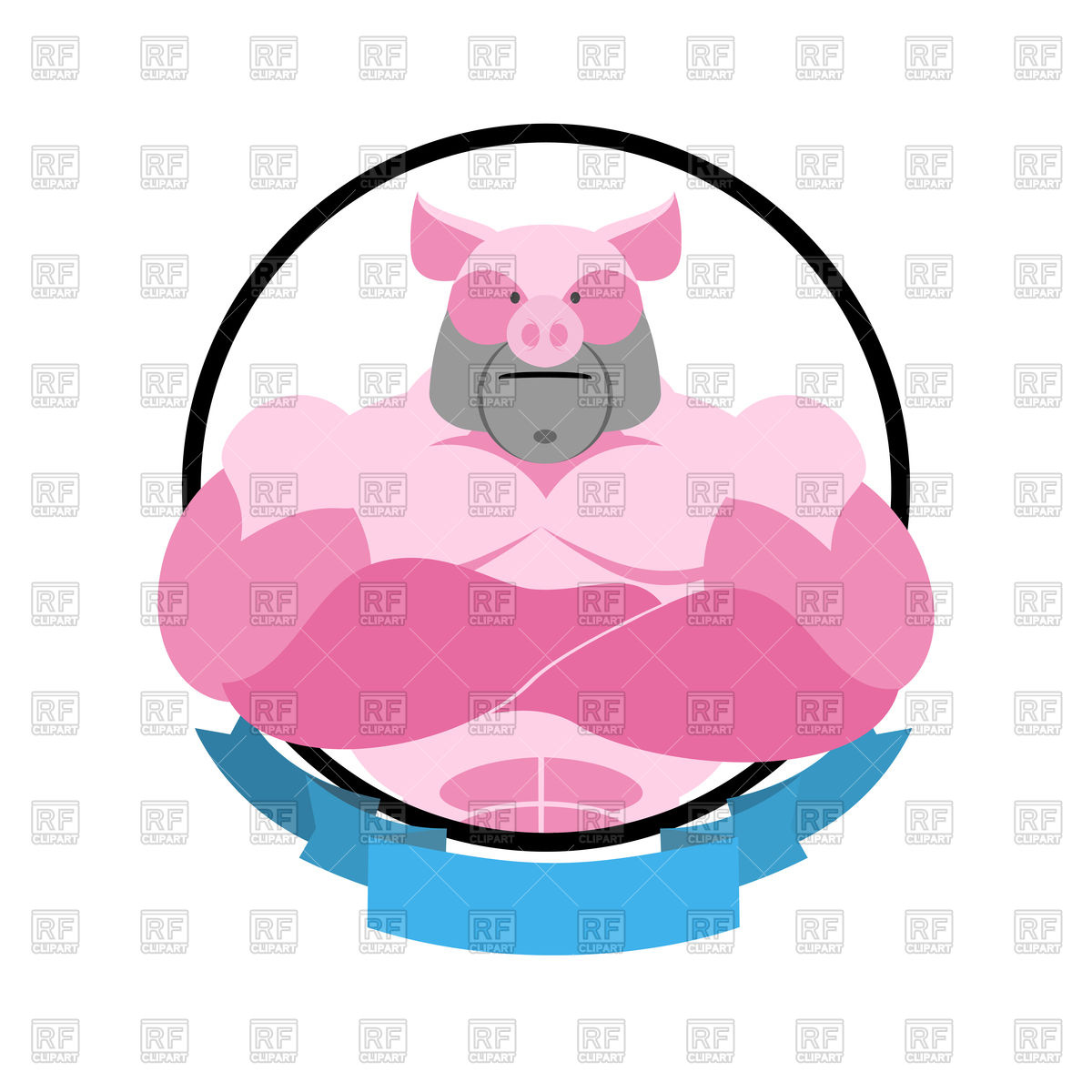 Angry pig in circle emblem, logo of bodybuilder Stock Vector Image.