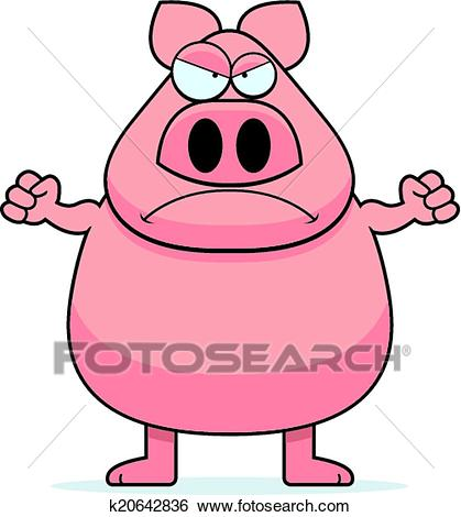 Angry Pig Clip Art.