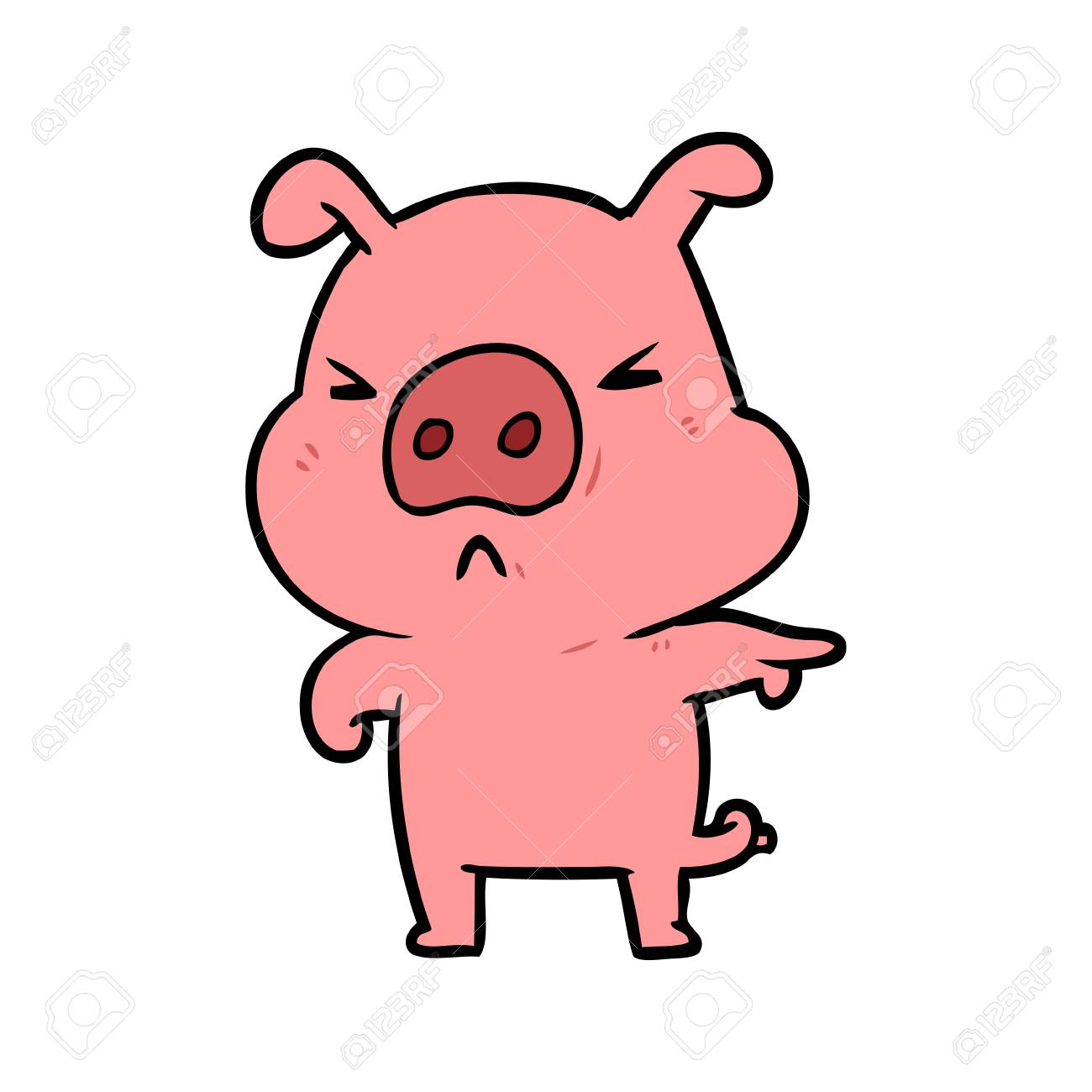 cartoon angry pig pointing.