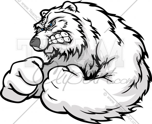 Angry Polar Bear with Strong Arms in Muscular Pose Cartoon Vector.