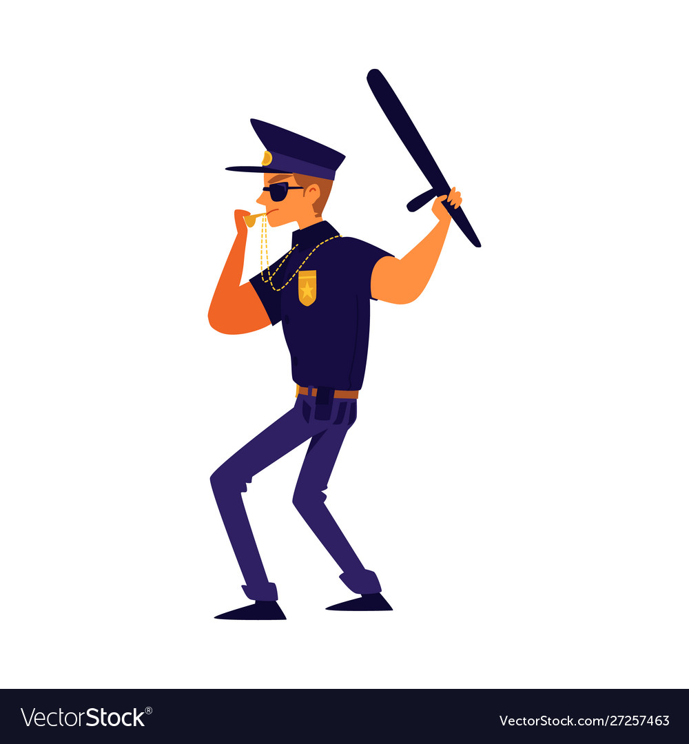 Cartoon policeman in blue uniform blowing a.