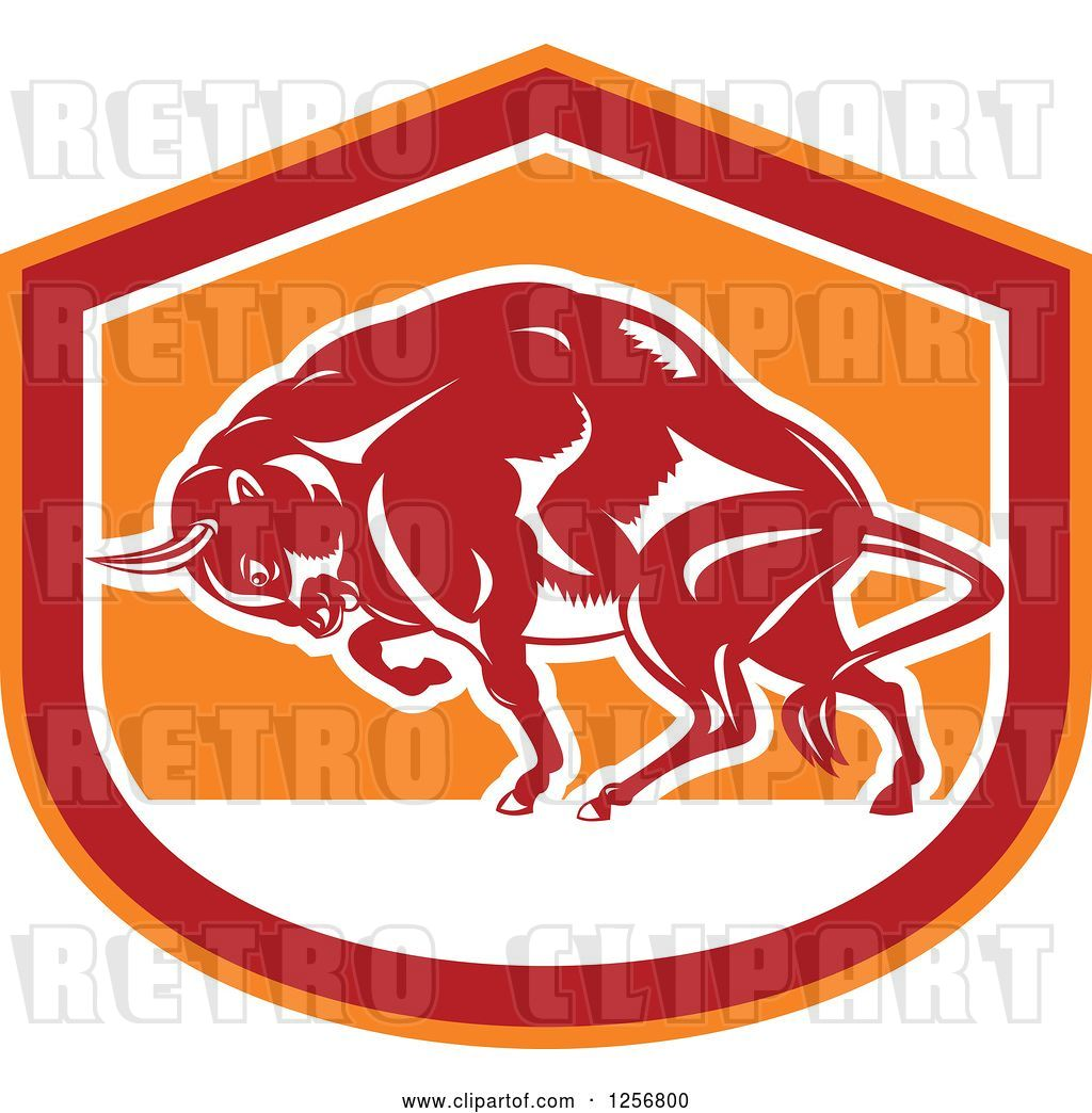 Vector Clip Art of Retro Woodcut Charging Angry Bison in a.