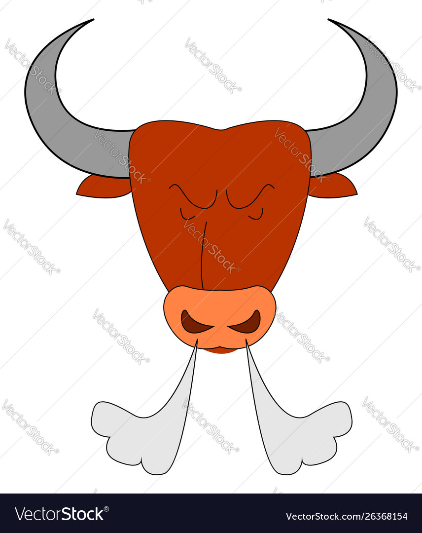 Angry red bull on white background.