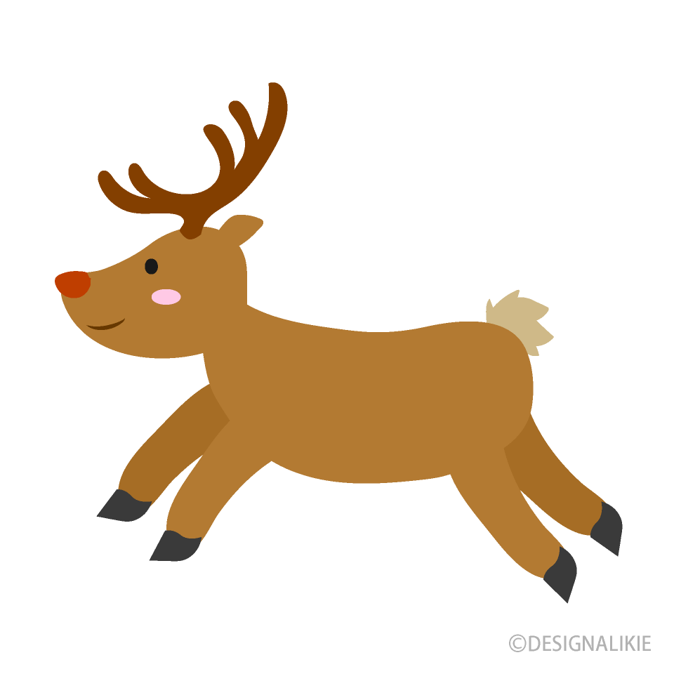 Free Cute Reindeer Running Clipart Image|Illustoon.
