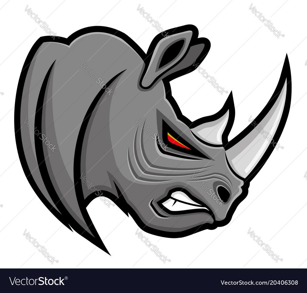 Angry gray rhino vector image.