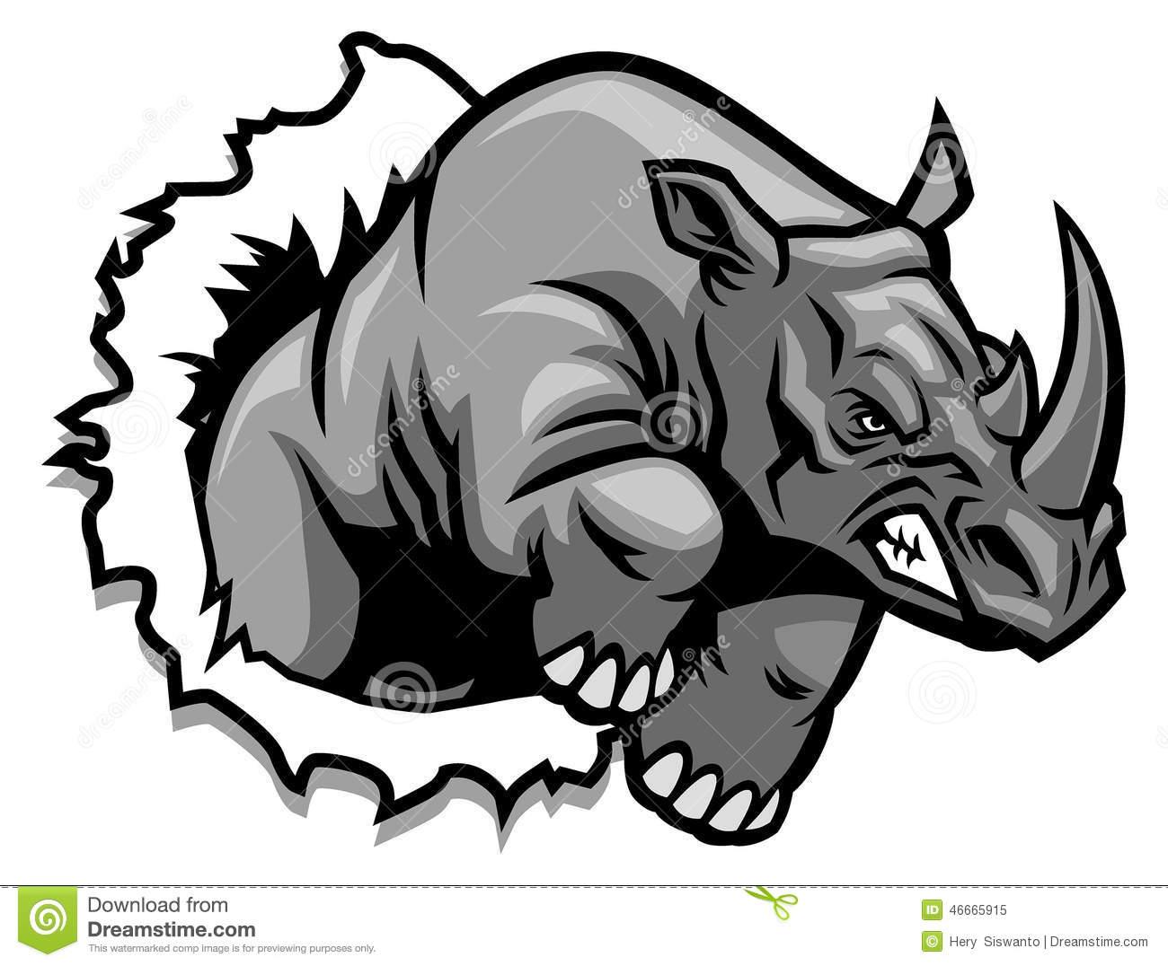 Angry Rhino Clipart.