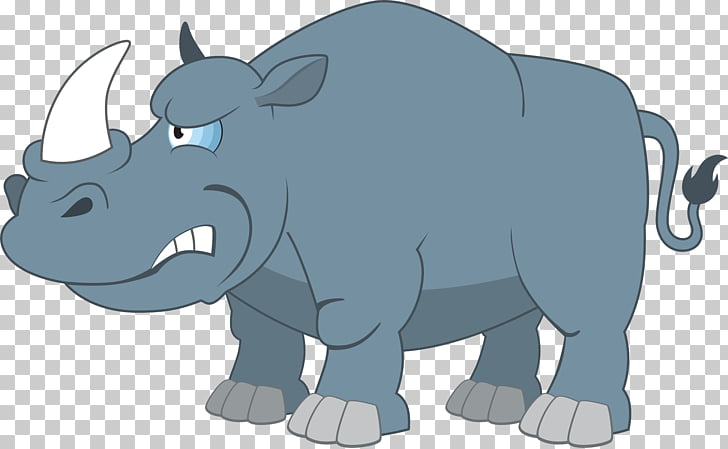 Rhinoceros Cartoon Illustration, Angry rhino PNG clipart.
