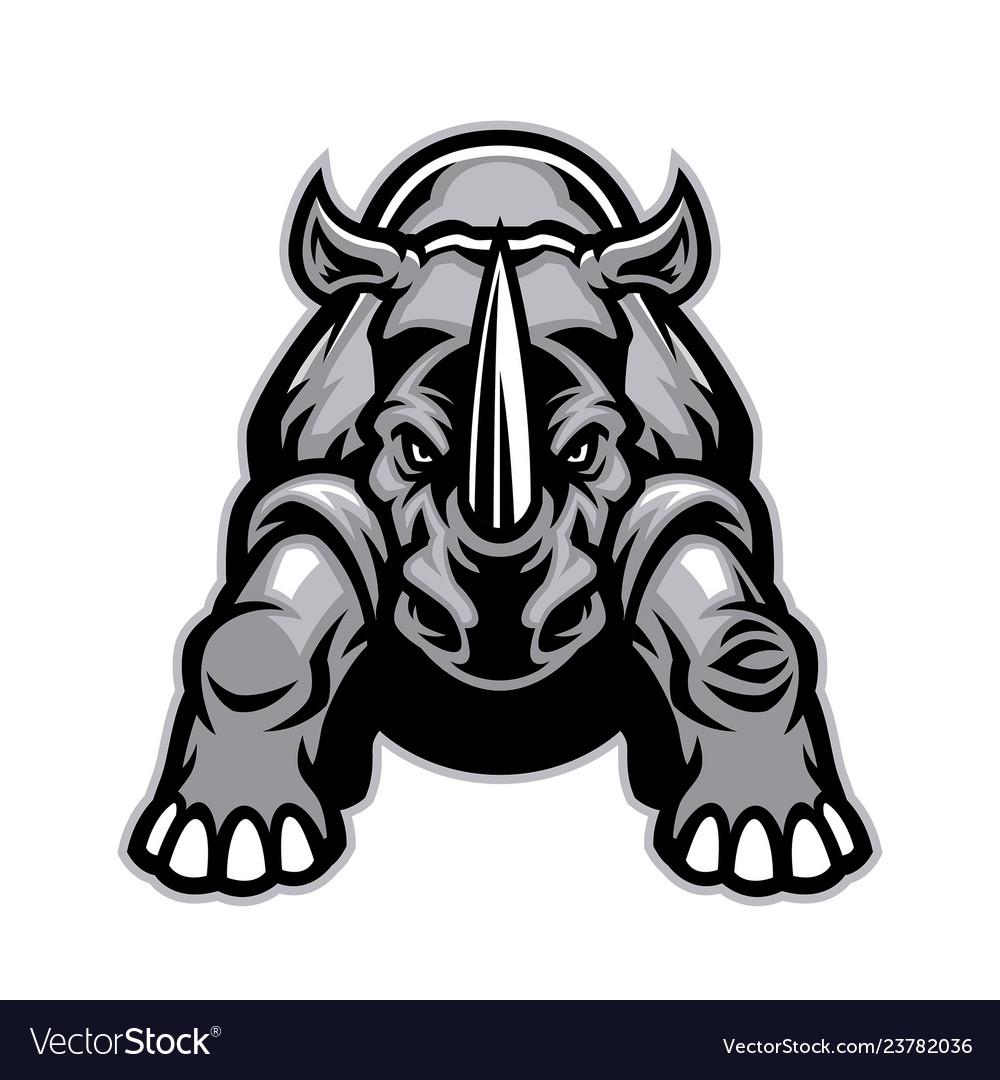 Steady angry rhino mascot.
